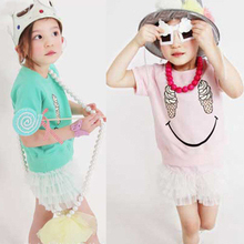 Kids Girls Short Sleeve T-shirts Ice Cream Smile Casual Tops Cotton Costume New