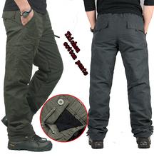 Inverno masculina de camada dupla de carga calças quentes esportes ao ar livre calças largas calças de algodão para homens masculino camuflagem militar Tactical