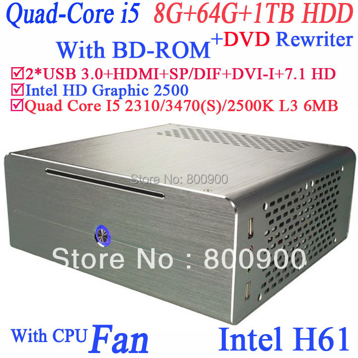 win7 thin pc server DVD rewriter BD-ROM Quad Core i5 2310 2.9Ghz 3470 3.2Ghz 2500K 3.3Ghz 3470S 3.2Ghz 8G RAM 64G SSD 1TB HDD(China (Mainland))
