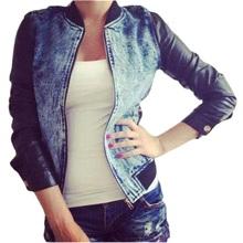 Fashion Denim Jacket with Leather Sleeves Women Short Basic Jackets PU Leather Patchwork Long Sleeve Jeans Jacket Denim Coat(China (Mainland))