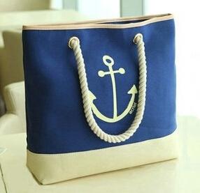 2015 Hot Selling Navy Anchors Print Canvas Beach bag Cotton Canvas tote bag daily handbag bag(China (Mainland))