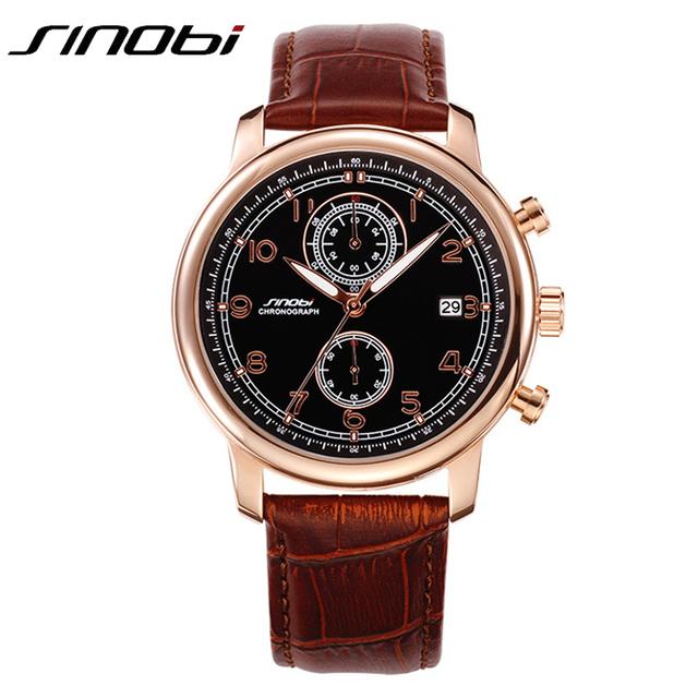 Лучший бренд классический ретро мода бизнес кварцевые часы мужчины кожаный ремешок японии свободного покроя часы хронограф авто дата 2016 Sinobi новых