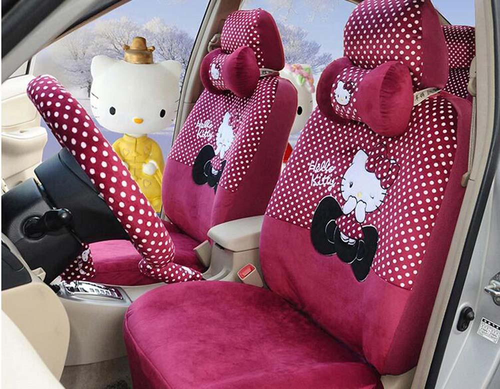 18pcs Set Luxury New Cartoon Hello Kitty Micro Velboa Universal Seat Covers Car Interior