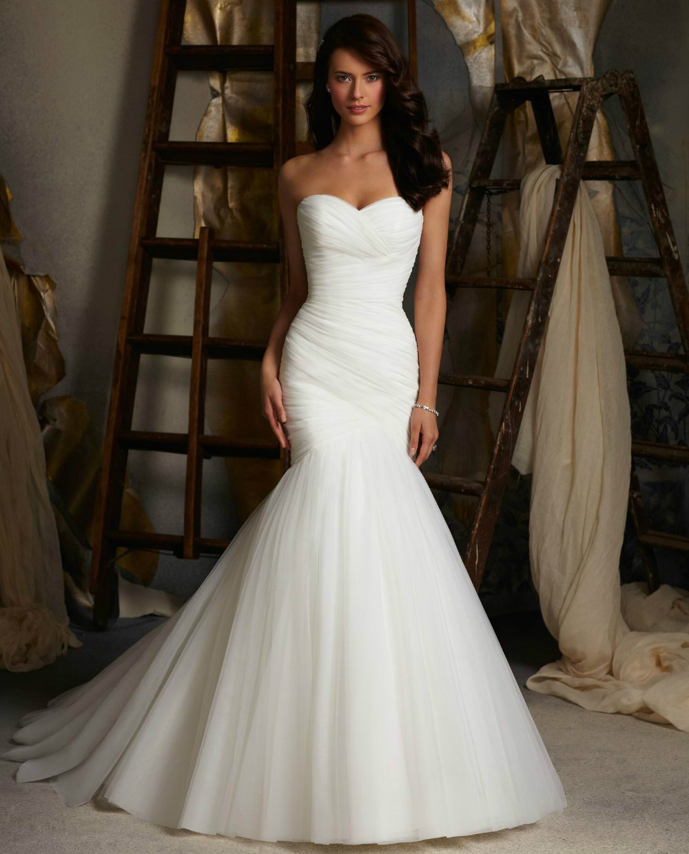 2015 New Design Ruched Strapless Mermaid Tulle Wedding Dresses White Ivory Tulle Floor length Lace Up Bridal Gowns In Stock(China (Mainland))