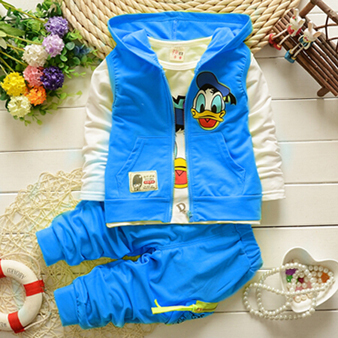 2015 Autumn children boys girls clothing sets baby kids cartoon Garfield vest coat jacket T shirt pants Donald Duck clothes set(China (Mainland))