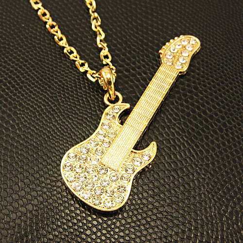 Bijoux Hip Hop Long Gold Plated Guitar Pendant Necklace Long Chain Necklace with Rhinestone Women Men Fashion Jewelry nkej35(China (Mainland))