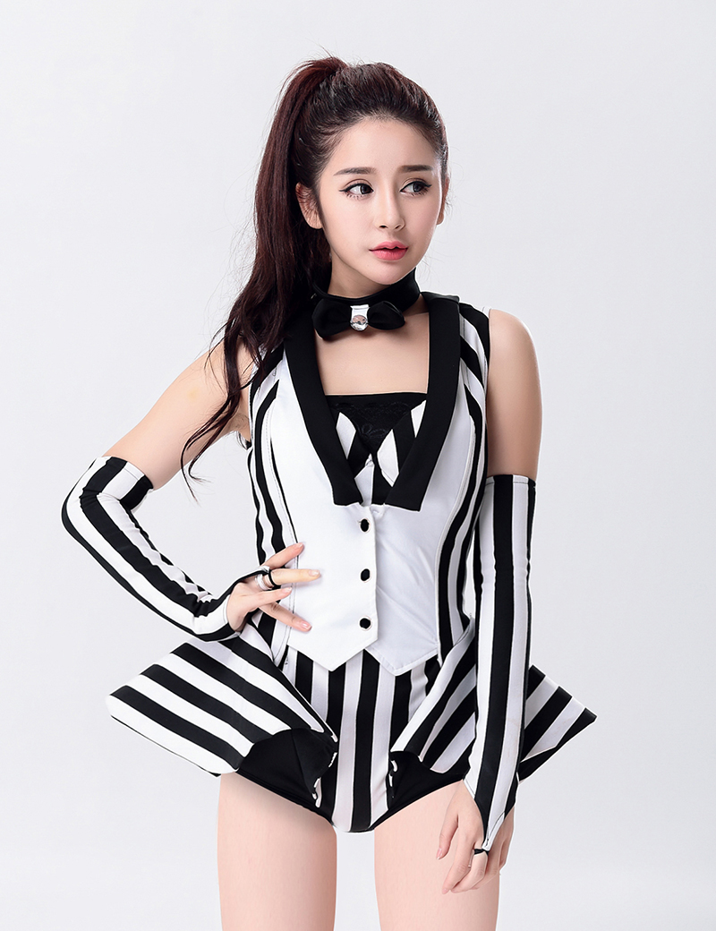 TITIVATE Modern Dance Costume Clothes Stripe Fashion Jazz dance DJ Performance Wear Jumpsuit Singer Performance Costume(China (Mainland))