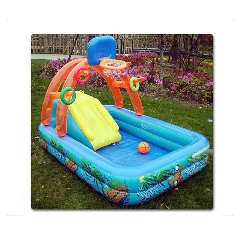 Children play swimming pool with inflatable slide 188CMX137CMX34CM(China (Mainland))