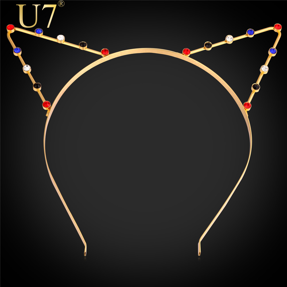 U7 Sexy Cat Ear Hair Band Fashion Gold HairWear 18K Gold /Platinum Plated Rhinestone Hair Jewelry For Party Gift F301(China (Mainland))