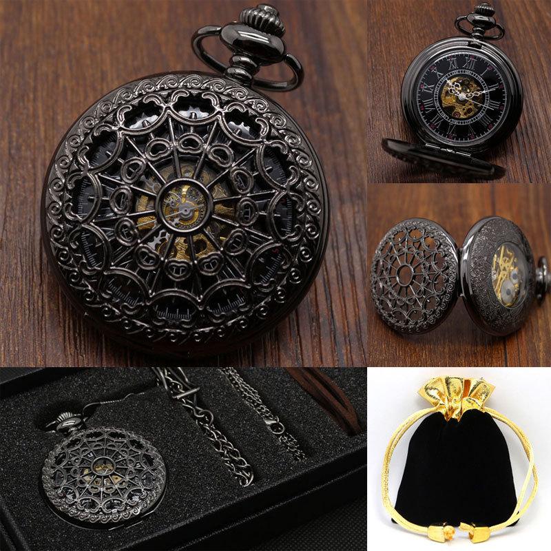 Fashion Black Steampunk Pocket Watch Luxury Brand Fashion Skeleton Watches Hand Wind Mechanical Pocket Watch with Gift Box(China (Mainland))