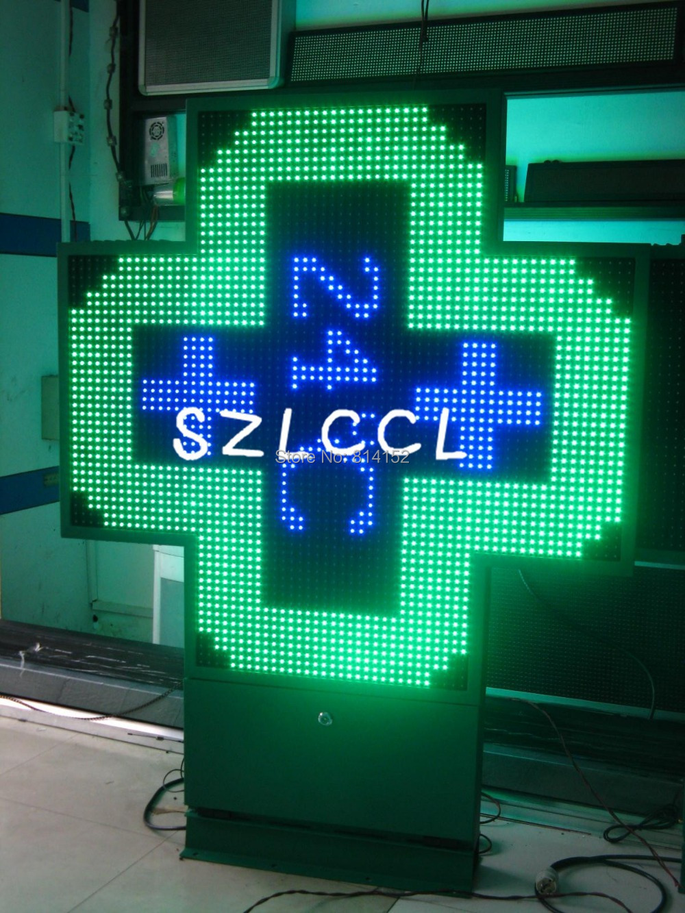 alibaba hot sale high quality P16 SC1024*1024 Outdoor Waterproof single red/green/blue color led pharmacy cross sign(China (Mainland))