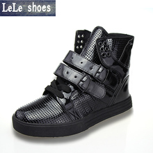 2016 New Arrival Wholesale Winter Men Women Patent PU Leather High Top Ankle Boots Slotting High Quality Casual Shoes Yeezy Boot(China (Mainland))