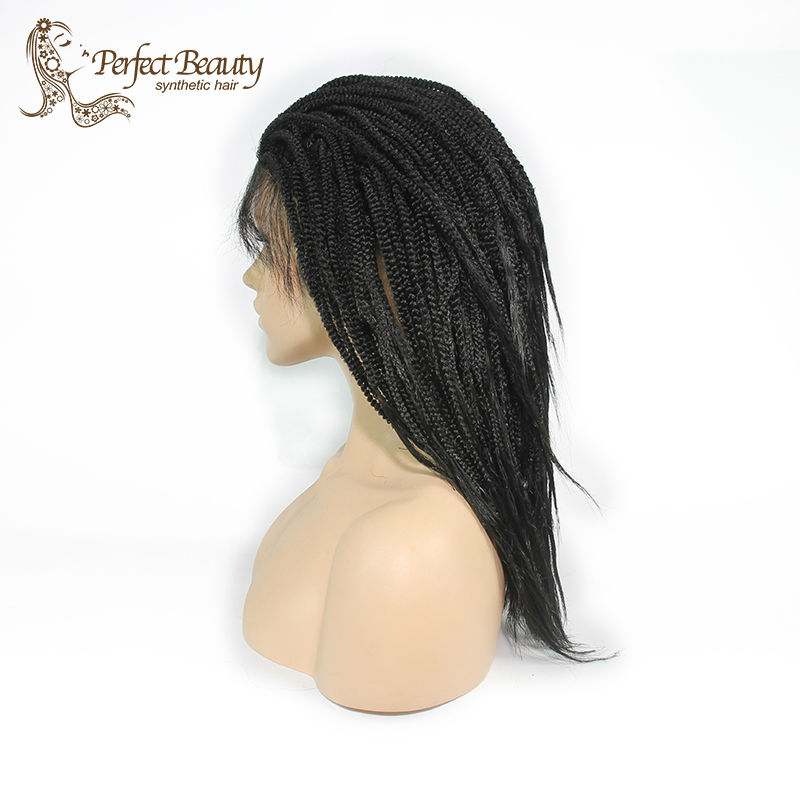 Фотография Braided Lace Front with Natural Baby Hair Glueless 1B Black Hair Synthetic Wig For African American Box braided wig