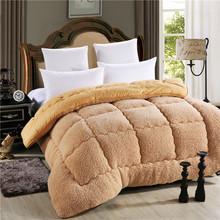 Australian lammwolle Warme bettdecke weiß und kamel farbe voll königin größe gesteppte Bettdecke kamel doppel größe 220*240 cm 200*230 cm(China (Mainland))