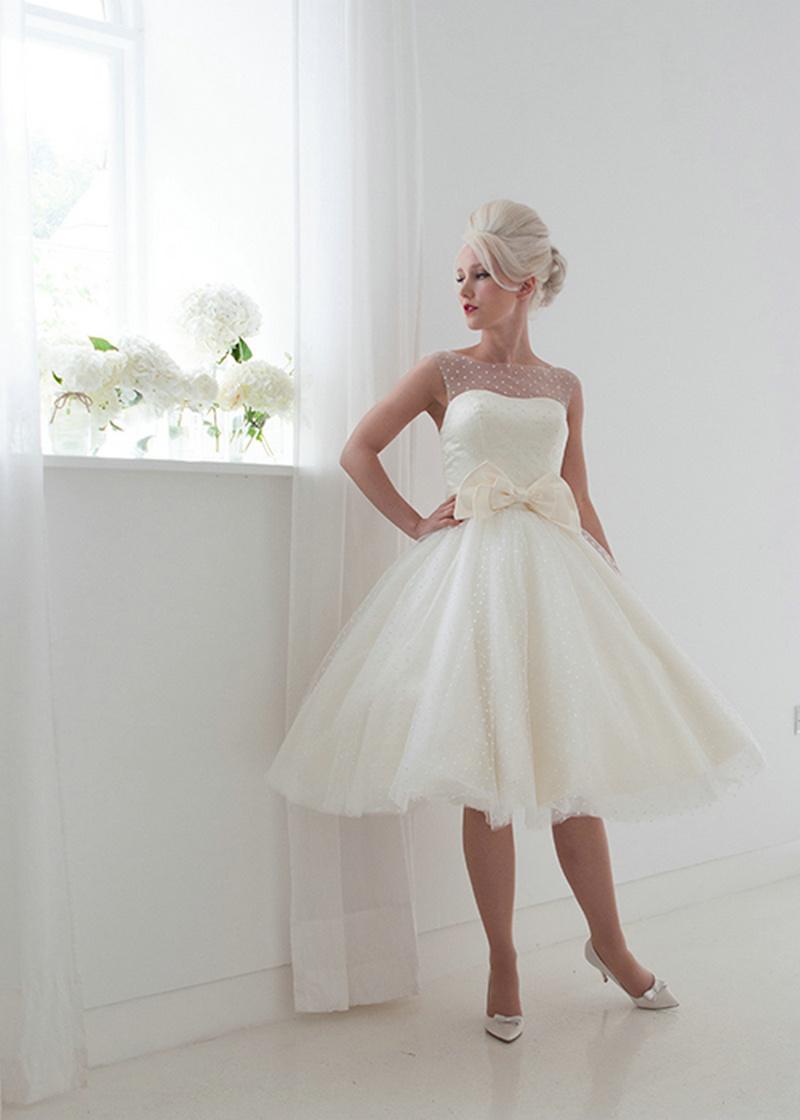 Платье-де-casamento курто Vintage Короткие Свадебные Платья Sexy Sheer назад 50-горошек Свадебное Платье Свадебное одеяние де mariage B84