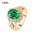 Fashion 18k Gold Plated Ring For Women 2016 Emerald Crystal Charm Wedding Rings Engagement Fine Jewelry