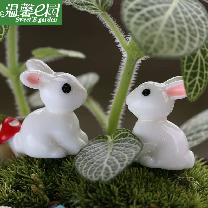 2015 New Hot Kawaii Crafts Miniature Garden White Rabbit Fairy Animal Europe Miniature Fairy Figurines Animal(China (Mainland))