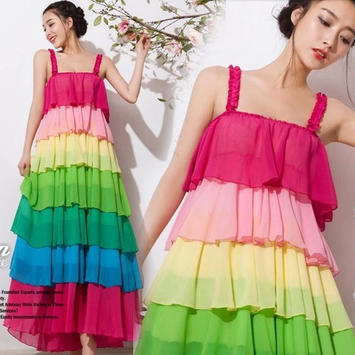 The 2014 Summer lady rainbow long dress seven colors made you more sexy and beautifuly(China (Mainland))