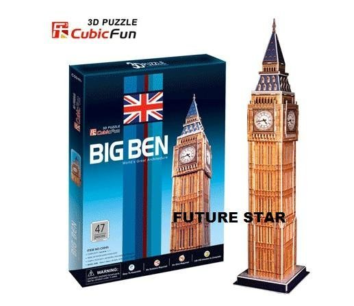 Freeshipping! Big Ben,CubicFun 3D Jigsaw Puzzle,3D paper model,DIY puzzle, Educational toys for Kids C703h
