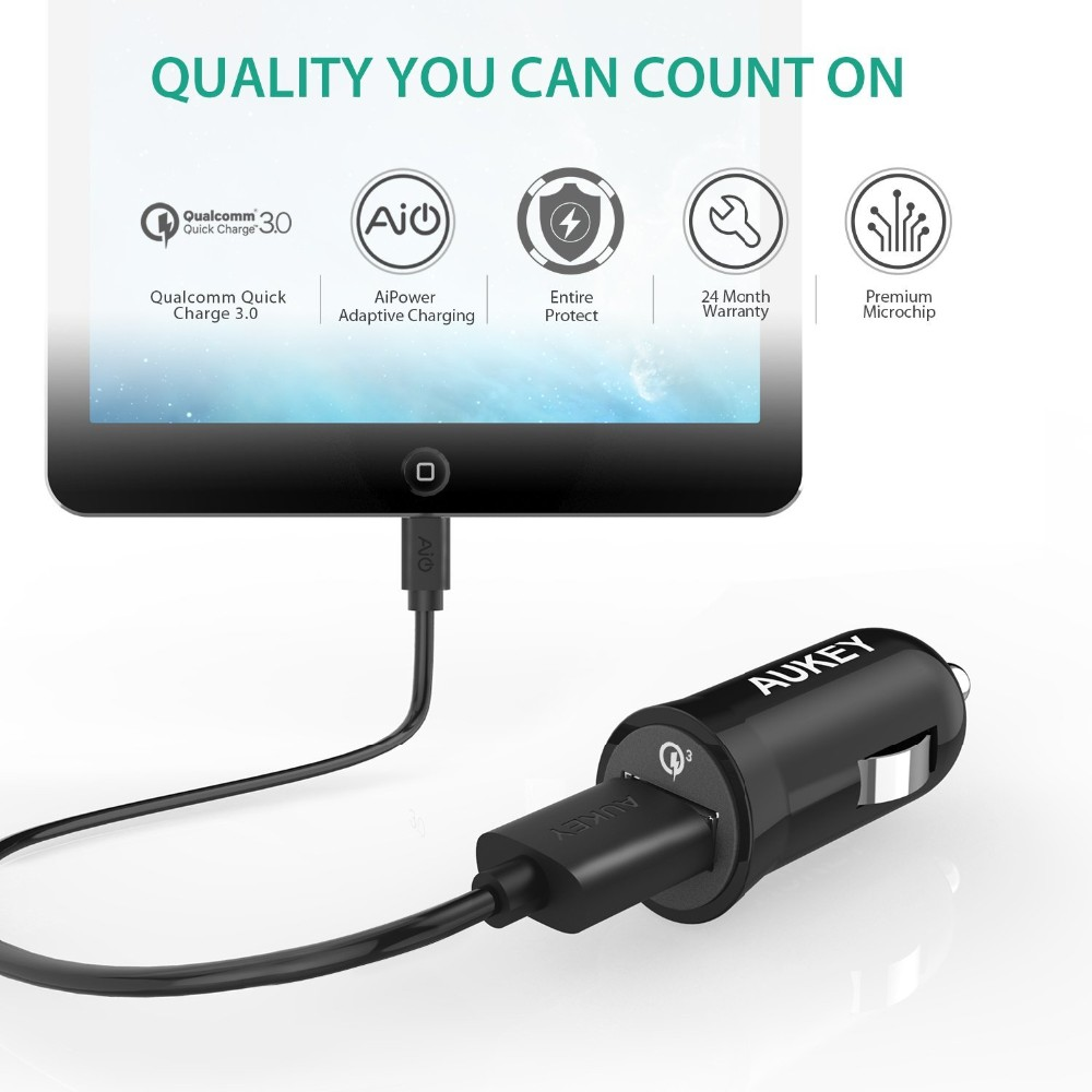 AUKEY for Qualcomm Quick Charge 3.0 3-in-1 Mini Car Charger for Xiaomi mi5 4 LG G5 Samsung S6 5 Sony HTC iPhone & More Phones PC