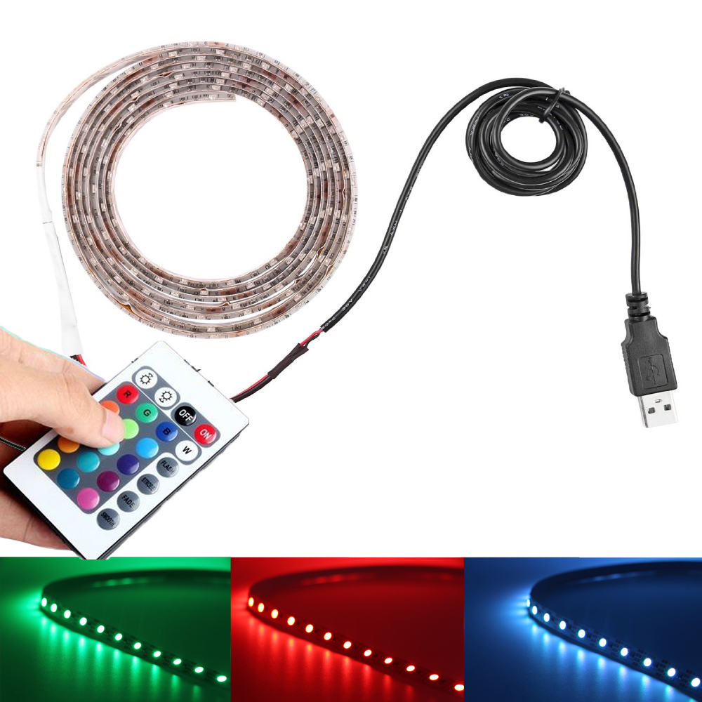 5V USB Cable led strip light USB TV Back Light 3528 5050 SMD RGB 60led/m Ribbon tape lamp +Remote Controller for TV Background(China (Mainland))