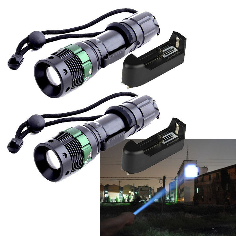 New 2X 2000 Lumen Zoomable CREE XM-L T6 LED Flashlight Torch 3 Modes Zoom Lamp Light+Charger  USA  XM090  / HF1146(China (Mainland))
