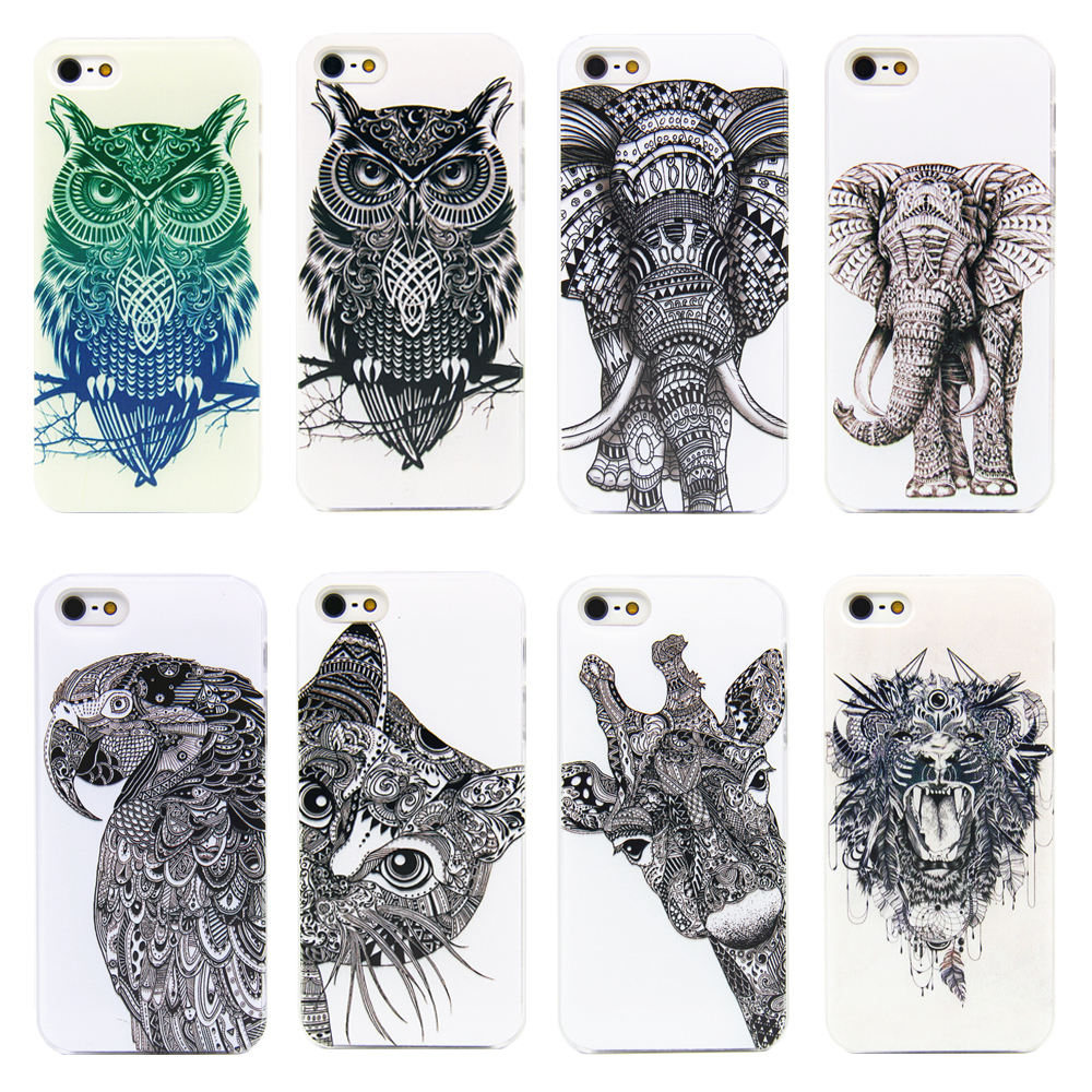2015 cell phone cases for apple iPhone 4 4s 5 5s case cover cartoon cute Cat elephants OWL luxury Transparent hard plastic shell(China (Mainland))