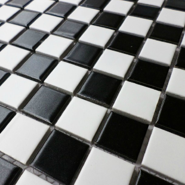 Ceramic mosaic tile black and white non slip glazed matt for Porcelain tile bathroom floor slippery