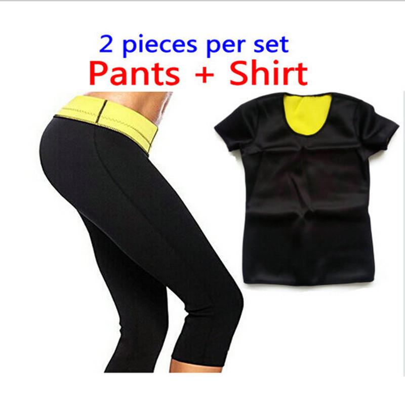T Shirt Pant Women Hot Shapers Slimming Set Super Lose
