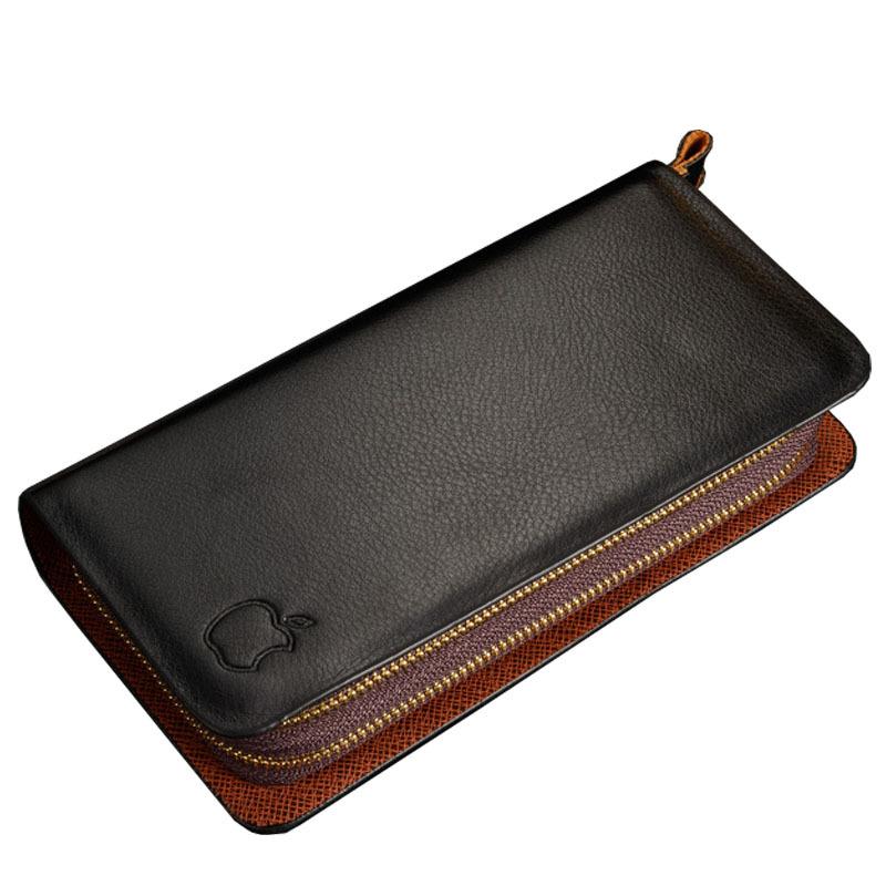 High quality brand genuine leather carteira de couro double zipper wallet clutch men(China (Mainland))