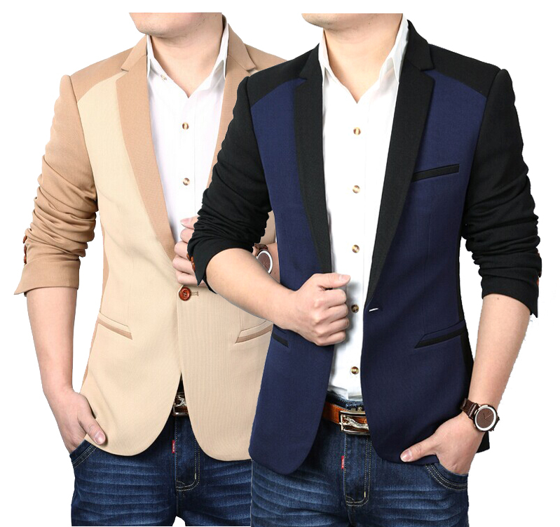 Terno Masculino 2015 Autumn Casual Color Stitching Design Slim Single Button Blazer Men Jacket Navy Blue Khaki Black - Fashionable store