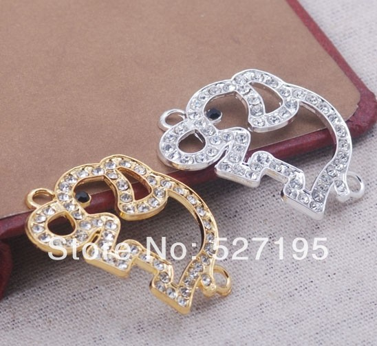 Fashion Animal  Silver / Gold Plated Crystal Rhinestone Elephant Bracelet Charm Connector Beads Jewelry Findings