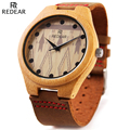 REDEAR Men s Grain Leather Strap Wood Watch Fashion Designer Wooden Watch Mens Watches Top Brand