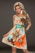 R7971 новое поступление 4 цвет цветочный печать мода платье с поясом высокое качество женщин сексуальное платье одежда для пляжа летние женщины одеваются