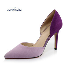 Red Bottoms Sheepskin Two-Piece Thin Heels Pumps Royal Blue Purple Nubuck Leather Pointed Toe Shallow Mouth Shoes Fashion Sexy(China (Mainland))