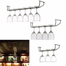 Champagne Stemware Holder Stainless Steel Chrome Plated Wine Rack Glass Cup Kitchen Wall Bar Hanger Enclosed Screw 27/35/55cm(China (Mainland))