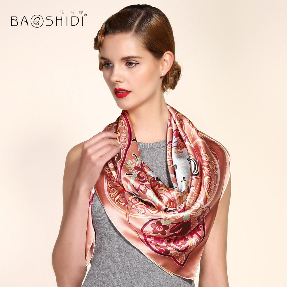106 x 106cm Soft Genuine Pure Silk Stain Scarf Spring Elegant Wrap Women'S Big Square Scarf Crepe Plain Square Silk Scarves B29(China (Mainland))