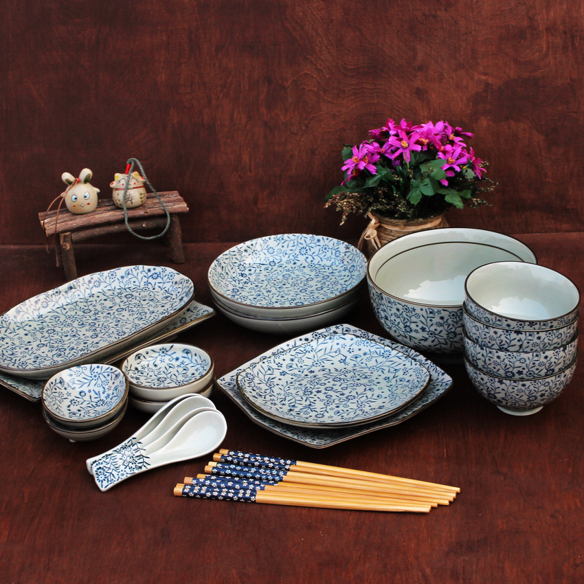 This asian style dishes set main objects