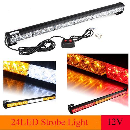 24 LED Emergency Traffic Warning Advisor Strobe Light Bar Amber White Red Blue(China (Mainland))