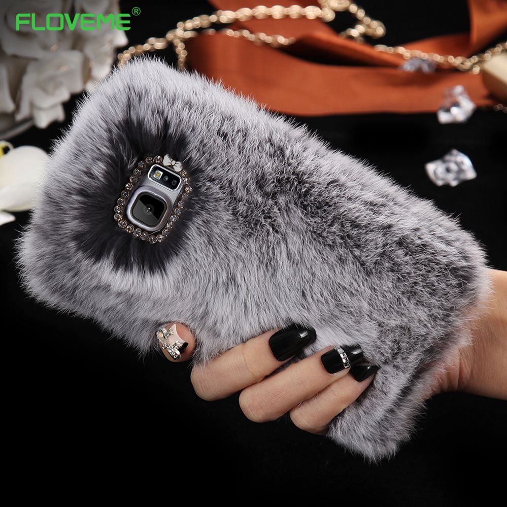 FLOVEME Real Soft Rabbit Hair Case For Samsung Galaxy Note 4 Fashion Bling Diamond Hole Shockproof Cute Women Cover For Note 4(China (Mainland))