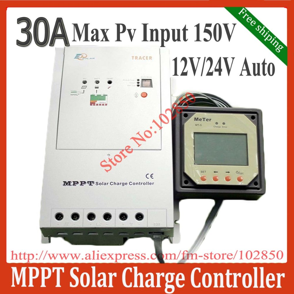 30A ,12/24V DC auto work,MPPT solar charge controller regulator Tracer3215 with MT-5,Max PV input 150V,Free Shipping by DHL(China (Mainland))