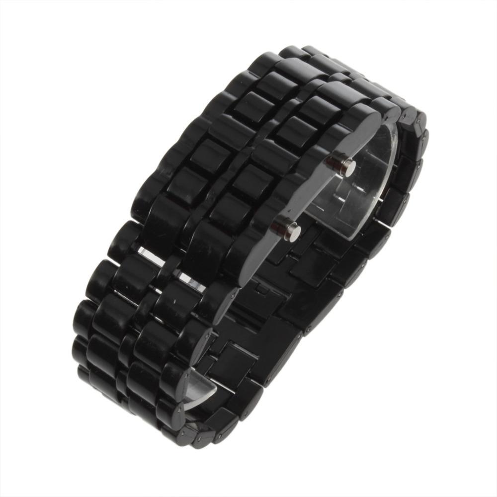 Новинка мужчины женщины лава железный металл из светодиодов безликий браслет часы наручные часы спортивные часы полный нержавеющей стали