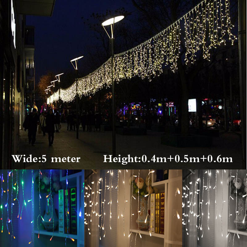 christmas lights outdoor decoration 5m droop 0.4-0.6m led curtain icicle string lights new year wedding party garland light(China (Mainland))