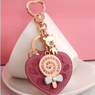 Lollipop rhinestone car keychain womens key chain circle package decoration gift<br><br>Aliexpress