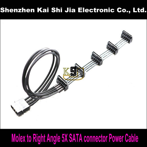 Black Sleeved 4Pin Molex to Right Angle 5X SATA Connector Power Adapter Cable(China (Mainland))