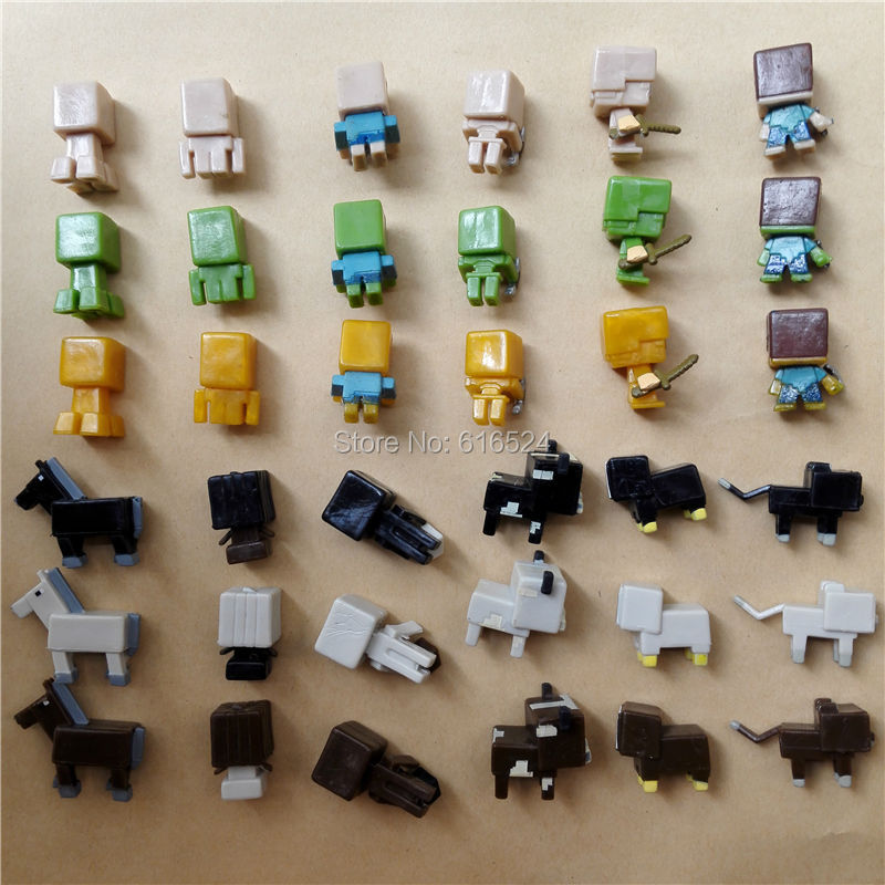 36pcs/lot Super Mini Minecraft Mystery PVC figure Cute Steve Creeper ...
