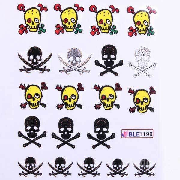 Byrdee Mixed 11 Styles BLE1192-1202 Skull Nail Art Decals Water Stickers(China (Mainland))
