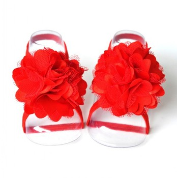 20pair/lot Trial Order Barefoot Baby Sandals with thin Elastic and sigle flower Girl Baby Shoes Baby Accessories QueenBaby