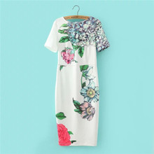 Women Floral Print Cheongsam Dress Slim Stretch White Chinese Dresses Sexy Elegant Party Vintage Dress For Ladies Long Dress(China (Mainland))