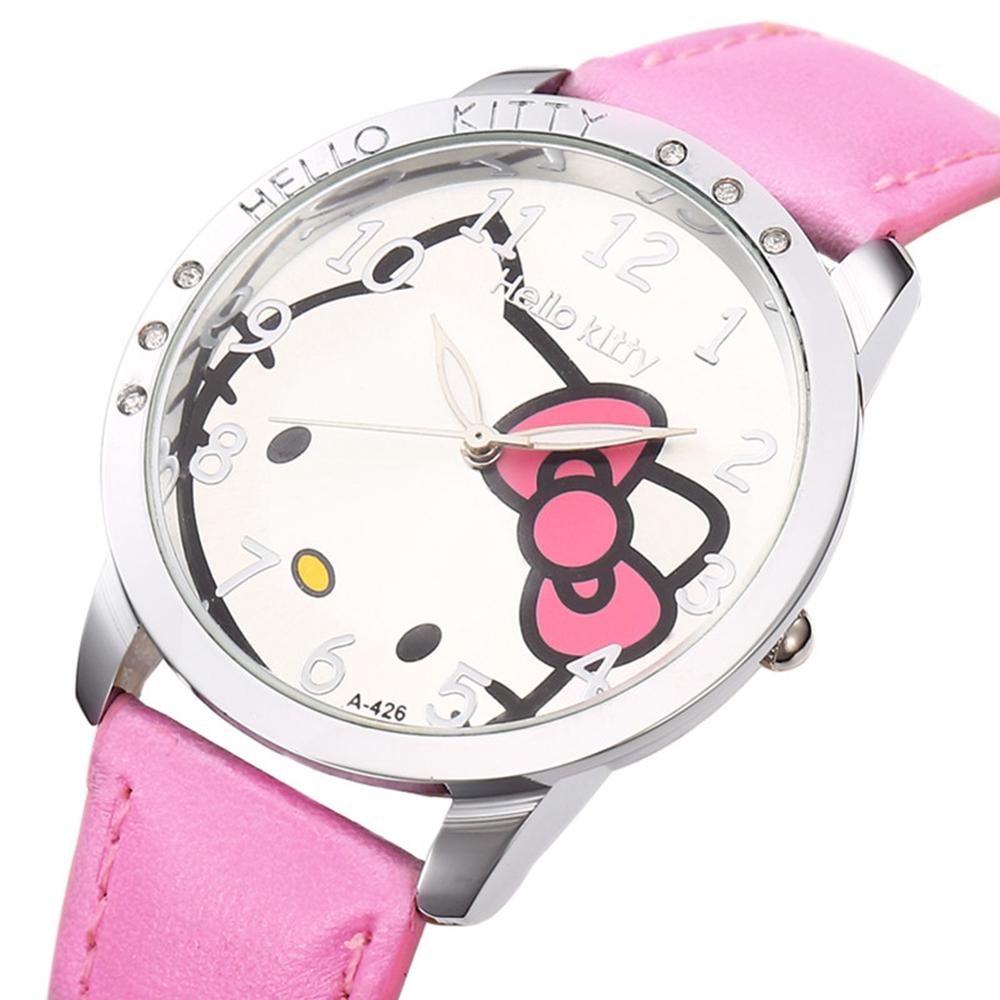 Hello Kitty Cartoon Cute New PU Leather Watch Girls Children Hour Quartz Watch Women Dress Kids Wrist Watches Reloj Mujer(China (Mainland))